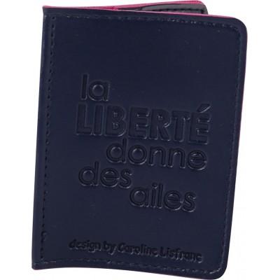 Porte-cartes bicolore bleu