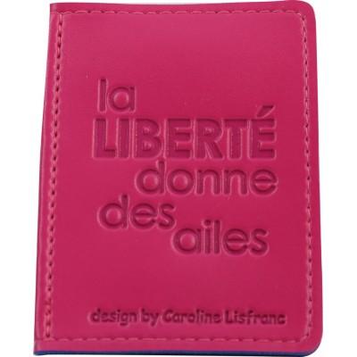 Porte-cartes bicolore rose